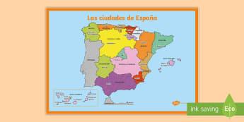 Póster DIN A2: Las ciudades principales de España - Mapas, provinicias, mapas mudos, mapas en blanco, las ciudades de españa, comarcas, concejos, comun