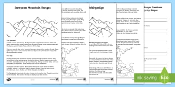 European Mountain Ranges Reading Comprehension Activity English/German - Mountains, geography, reading, EAL, German, English-German