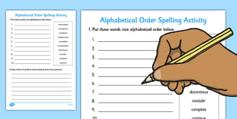 Alphabetical Order Activity - alphabetical, order, activity