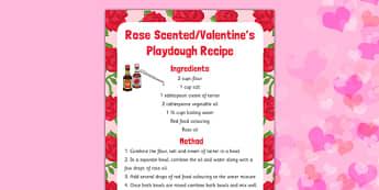 Rose Scented Valentine Playdough Recipe - playdough, recipe, eyfs