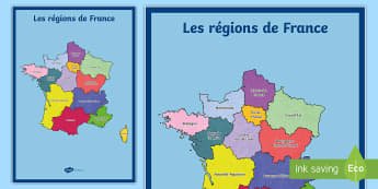 Poster format A2 : Les régions de France - Cartes géographiques, map, cycle 2, cycle 3,  KS2, régions, France, regions, worksheet / activity sheet, poste
