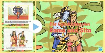 Die Geschichte von Rama und Sita PowerPoint Präsentation - Diwali, Hinduismus, Hindi, Hindus, Religion, Religionsunterricht,,German