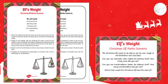 Elf's Weight Christmas Elf Maths Scenario