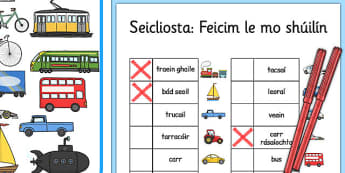 Transport Themed I Spy With My Little Eye Activity Gaeilge - vehicles, cars, trains, planes, helicopters, hot air balloon, spotting, finding, looking, searching, game, activity, irish, ireland, roi, languages