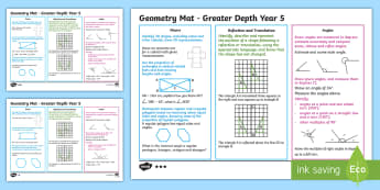 Year 5 Geometry Differentiated Maths Mats - Assessment, Reflection, Position, Direction, Circle, Shape, Square