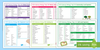 OCR Gateway Biology Word Mats - Word Mat, revision, B1, B2, B3. B4. B5, B6, Gateway, Biology, spelling, keywords, key terms, list, r