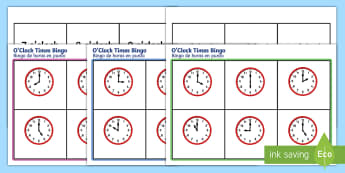 O'Clock Time Bingo English/Spanish - O Clock time bingo, Time bingo, time game, Time resource, Time vocaulary, clock face, Oclock, half p