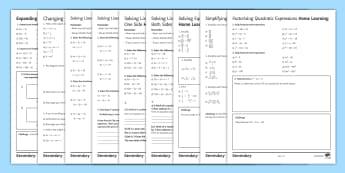 Algebra Homework Activity Pack - homework, solve, equation, algebra, fraction, bracket, Simultaneous, Subject,