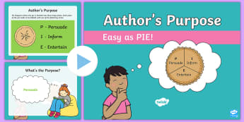 Author's Purpose Easy as PIE PowerPoint - text type, Persuade, Inform, Entertain,
