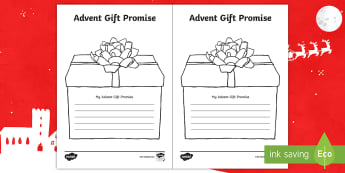 Advent Gift Promise Activity Sheet - christmas, advent, making promises, helping, being of service, worksheet