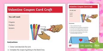 Valentine's Day Coupon Card Craft - Valentine's Day, valentine, valentines, craft, valentine card, art
