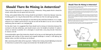 Should There Be Mining in Antarctica? Discussion Writing Sample - Literacy, Should There Be Mining in Antarctica? Discussion  Writing Sample , discussions, persuasive