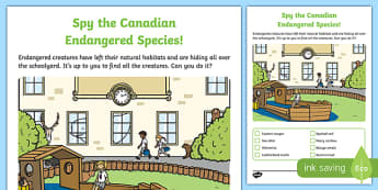 Spy the Endangered Canadian Species Activity Sheet, worksheet