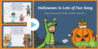 Halloween Is Lots of Fun Song PowerPoint - EYFS, Early Years, Halloween, witches, wizards, magic spell, Hallowe'en, All Hallows Eve, All Saint