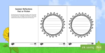 The Best Thing About Summer Reflection Activity Sheet - Summer, reflection,refelction, Holidays, Start of the year, personal experiences,