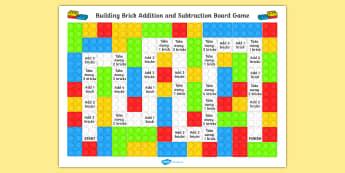 EYFS Building Brick Addition and Subtraction Board Game - add