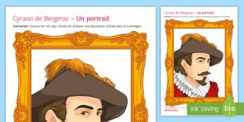 Cyrano de Bergerac Activity Sheet - KS3, French, literature, Cyrano, activity sheet,French