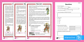 KS2 Navratri Differentiated Go Respond Activity Sheets - Interactive, Hinduism, Festival, Celebration, Durga Puja.