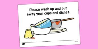 Washing Up Staff Room Sign - washing up, staff room, sign, display