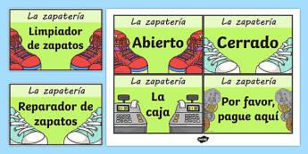 Anuncios y letreros La zapatería - tienda, vender, juego simbólico