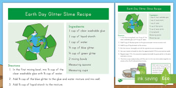 Earth Day Glitter Slime Recipe - earth day celebration, april 22nd, earth day sensory recipe, eco glitter, world, slimy, gloop