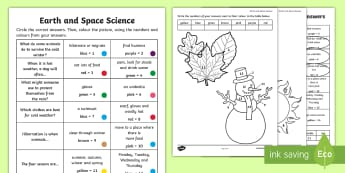 Foundation Year Earth and Space Questions and Colouring Activity Sheets - ACSSU004, weather, seasons,  hibernate, migrate, prep, reception, worksheets,