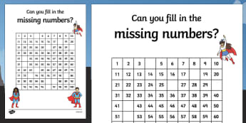 Superhero Themed Missing Numbers 100 Square Worksheet / Activity Sheet - superhero, superheroes, missing numbers, number square, 100, worksheet