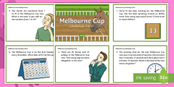 Melbourne Cup Challenge Cards - Maths, mathematics, melbourne cup, problem solving, number and algebra, number and place value, the