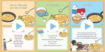 Pancake Tuesday Songs and Rhymes PowerPoints Pack - Pancake Tuesday/ Máirt na hInide, pancóga, pancakes, songs, rhymes, amhráin, rann,Irish, Pancake