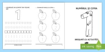 Numărul și cifra 1 Broșură cu activități - matematică, numărul, cifra, 1, numerație, broșură, clasa pregătitoare,Romanian