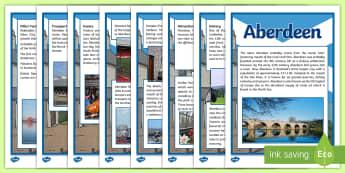 Aberdeen Information Sheets - CfE, Social Studies, Towns and Cities, Scottish Cities, Aberdeen