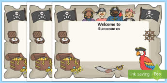 Pirate Themed Class Welcome Display Door Signs English/French - Pirate Themed Editable Class Welcome Signs - pirates, pirate themed welcome signs, pirate themed sig