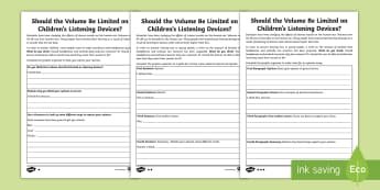 Sound Opinion Writing Differentiated Activity Sheet - worksheet, Opinion Writing, Decibels, Sound Waves, Sound Vibrations, Differentiated Science and Writ