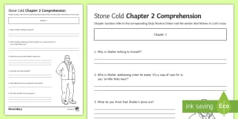 'Stone Cold' Chapter 2 Comprehension Activity Sheet - Swindells, Comprehension, Shelter, Link, Assess