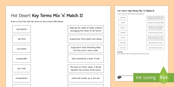 Hot Deserts Mix And Match 2 Activity Sheet - ks4, gcse, glossary, key term, living world, AQA, worksheet, definitions