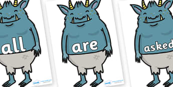 Tricky Words on Trolls - Tricky words, DfES Letters and Sounds, Letters and sounds, display, words