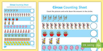 Circus Themed Counting Worksheet / Activity Sheet Up to 20 - circus, counting, count, activity, up to, 20, numbers, 1:1 correspondance