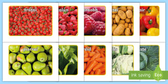 Fruit and Vegetables Display Photos Gaeilge - bia, irish, torthaí, glasraí, healthy eating, Irish