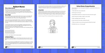 Robert Burns Reading Comprehension Activity - comprehension, robert, burns