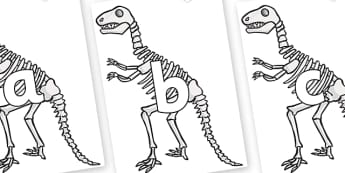 Phoneme Set on Dinosaur Skeletons - Phoneme set, phonemes, phoneme, Letters and Sounds, DfES, display, Phase 1, Phase 2, Phase 3, Phase 5, Foundation, Literacy