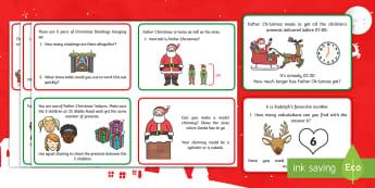 Christmas Maths Challenge Cards - christmas, maths, challenge