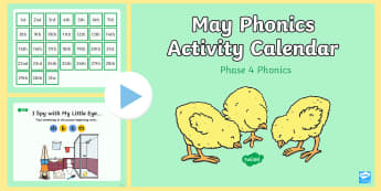 Phase 4 May Phonics Activity Calendar PowerPoint - Phase 4, May, spring, animals theme, spring theme, phonics, powerpoint, calendar, monthly, reading,