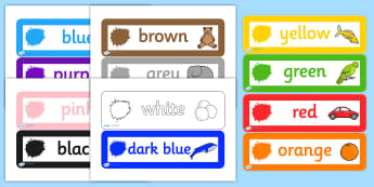 Colour Labels - colours, labels, drawer legs, peg labels, themed labels, drawer peg labels, name labels, peg name labels, drawer name label, coloured label