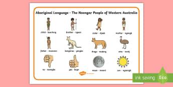 Noongar Aboriginal Language Word Mat - Australian Curriculum, HASS, The Ways In Which Aboriginal And Torres Strait Islander Peoples Maintai