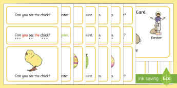 Easter Simple Sentence Cards - reading, sentences, eyfs, word cards, decoding, tricky words, sound button, phoneme, grapheme, phoni