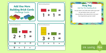 Add One More Building Brick  Busy Bag Prompt Card and Resource Pack - Addition, Number, Maths, Mathematics, Adding, Lego, Duplo, Mega Blocks, Megablocs, Mega Blocs,