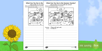 Summer Garden Writing Stimulus Picture Activity Sheet English/Spanish - Writing, independent, early years, EYFS, literacy, CLL, seasons, EAL, worksheet, English-Spanish, Sp