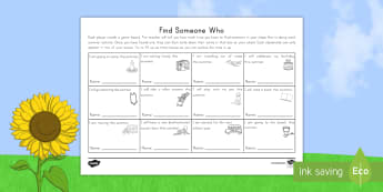 Find Someone Who... Activity Sheet - End of school year, end of year, end of school, graduation, Find someone who, summer