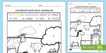 Ferma Colorează după codul numerelor - recunoașterea cifrelor, numerație, motricitate fină, arte, matematică,Romanian