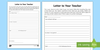 Letter to My Teacher Writing Template - Letter to my teacher, letter writing, get to know you, back to school, new class,Scottish